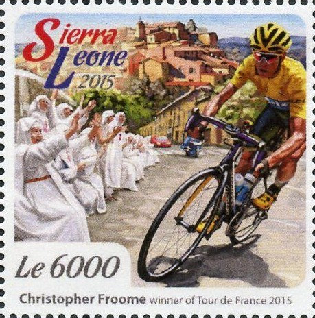 Tour-de-France-2015-Sierra-Leone-stamperija-nun-bicycle-stamp-velo-timbre-Fahrrad-Briefmarke-Philatelie